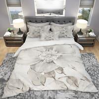 Designart 'Indigold Grey Peonies II' Cottage Bedding Set - Duvet Cover & Shams
