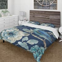 Designart 'Indigold Bird Cottage Family III' Cottage Bedding Set - Duvet Cover & Shams