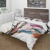 Designart 'Abstract Handpainted Purple and Blue Flowers' Cottage Bedding Set - Duvet Cover & Shams