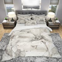 Designart 'Indigold Grey Peonies IV' Cottage Bedding Set - Duvet Cover & Shams