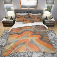 Designart 'Abstract Gilded Orange Waves' Geometric Bedding Set - Duvet Cover & Shams