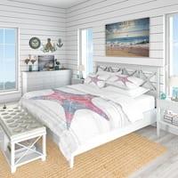 Designart 'Pink Starfish Ocean Life' Coastal Bedding Set - Duvet Cover & Shams