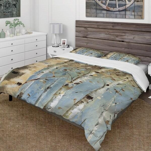 Designart 'White Birch Forest I' Farmhouse Bedding Set - Duvet Cover & Shams