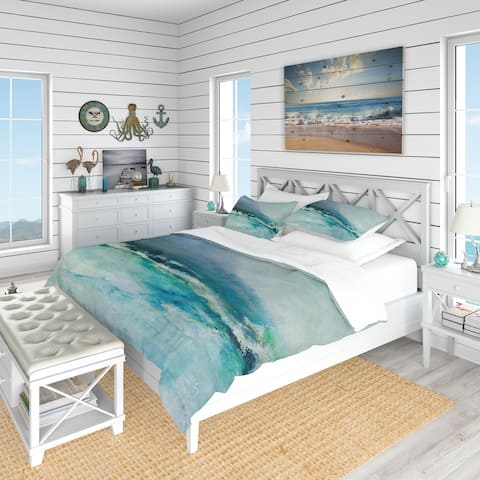Designart 'Indigo Abstract Watercolor Blue' Coastal Bedding Set - Duvet Cover & Shams