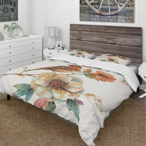 Designart 'Farmhouse Bird on Flower Branch' Cottage Bedding Set - Duvet Cover & Shams - Multi-color