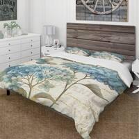 Designart 'butterfly Blue Garden II' Cottage Bedding Set - Duvet Cover & Shams