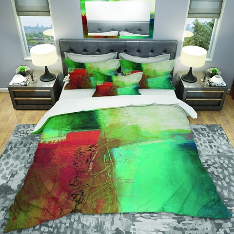 Designart 'Abstract Impression Of Watercolor Blue And Red' Geometric Bedding Set - Duvet Cover & Shams