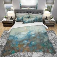 Designart 'Blue and Bronze Dots on Glass I' Geometric Bedding Set - Duvet Cover & Shams