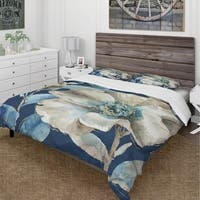 Designart 'Indigold Watercolor Flower I' Cottage Bedding Set - Duvet Cover & Shams