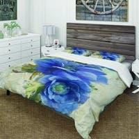Designart 'Blue Anemone Flower' Cottage Bedding Set - Duvet Cover & Shams