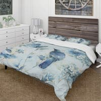 Designart 'Indigold Watercolor Flower III' Cottage Bedding Set - Duvet Cover & Shams