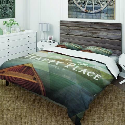 Designart 'Lake House Happy Quote' Cottage Bedding Set - Duvet Cover & Shams