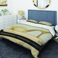 Designart 'Gold Fashion High Hells II' Glam Bedding Set - Duvet Cover & Shams