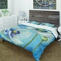Designart 'Handpainted White Flower on Blue I' Cottage Bedding Set - Duvet Cover & Shams