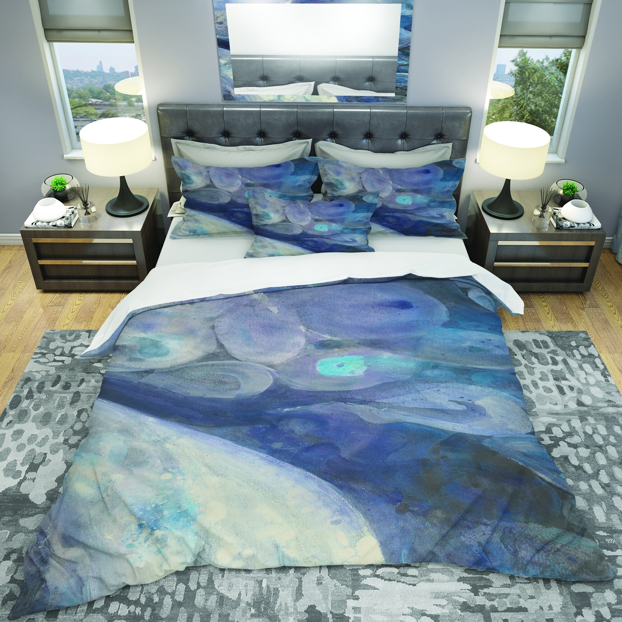 Shop Designart Into The Indigo Stream I Geometric Bedding Set Duvet Cover Shams Overstock 25971710