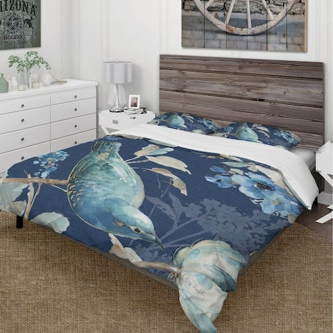 Designart 'Indigold Bird Cottage Family IV' Cottage Bedding Set - Duvet Cover & Shams