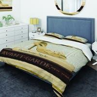 Designart 'Gold Fashion High Hells III' Glam Bedding Set - Duvet Cover & Shams