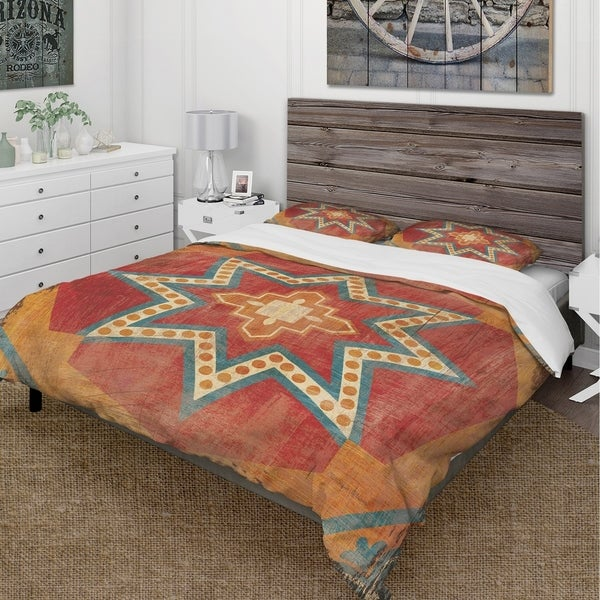 Designart 'Moroccan Orange Tiles Collage I' Cottage Bedding Set - Duvet Cover & Shams