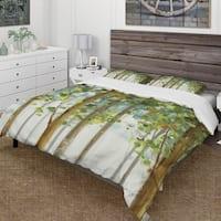 Designart 'Green Forest Study' Farmhouse Bedding Set - Duvet Cover & Shams