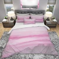 Designart 'Pink Handpainted Abstract Watercolor' Geometric Bedding Set - Duvet Cover & Shams