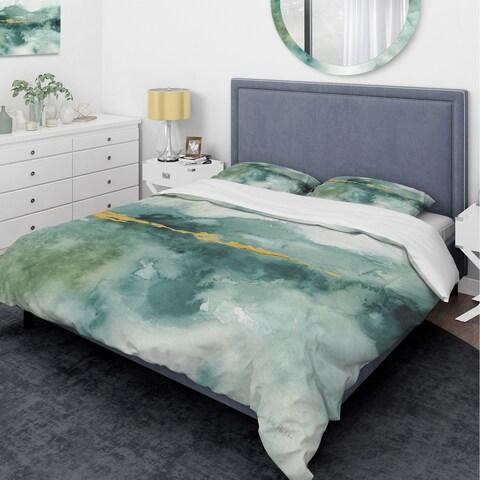 Designart 'Blue Watercolor Impression with Gold' Glam Bedding Set - Duvet Cover & Shams