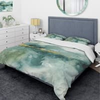 Designart 'Blue Watercolor Impression with Gold' Glam Bedding Set - Duvet Cover & Shams