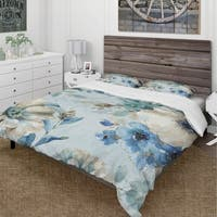 Designart 'Indigold Watercolor Lovely bird III' Cottage Bedding Set - Duvet Cover & Shams