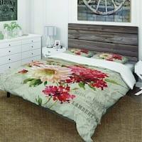 Designart 'Red Painted Flowers on Vintage Postcard III' Cottage Bedding Set - Duvet Cover & Shams
