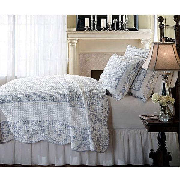 Jouy Toile Blue Woven Cotton 3-Piece Quilt Set