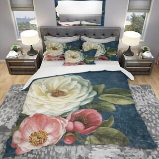 Designart 'White and Pink Damask Rose Flowers' Shabby Bedding Set - Duvet Cover & Shams