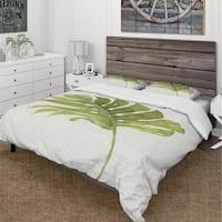 Designart 'Mixed Botanical Green Leaves VII' Cottage Bedding Set - Duvet Cover & Shams