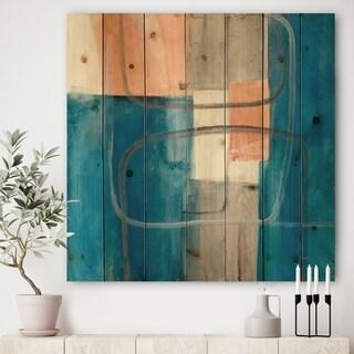 Designart 'Modern Simply Blue' Mid-Century Modern Print on Natural Pine Wood - Blue/Brown