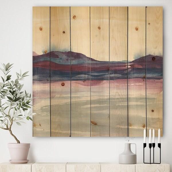 Designart 'Purple Rock landscape II' Shabby Chic Print on Natural Pine Wood - Grey/Blue