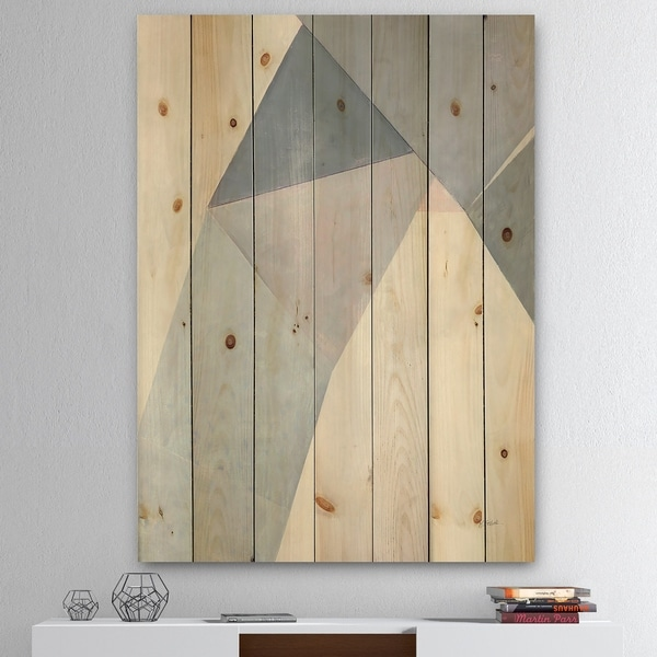 Designart 'Purple Geometric Bridge II' Mid-Century Modern Print on Natural Pine Wood - Grey/Purple