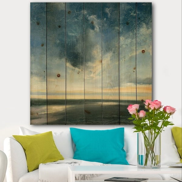 Designart 'Blue Coastal Sunrise' Landscape & Nature Print on Natural Pine Wood - Blue