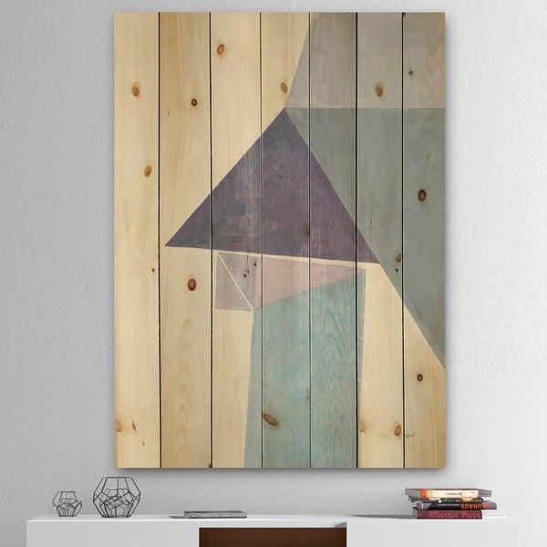 Designart 'Purple Geometric Bridge I' Mid-Century Modern Print on Natural Pine Wood - Grey/Purple