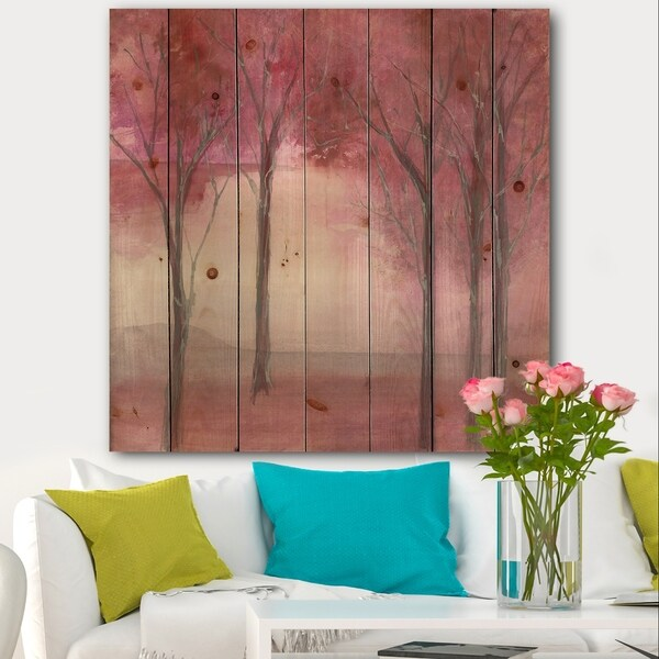 Designart 'Pink Forest' Traditional Landscape Print on Natural Pine Wood - Pink/Red