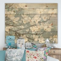 Designart 'Blue on Grey Blossoms ' Traditional Print on Natural Pine Wood - Blue