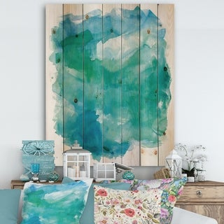 Designart 'Sea Glass' Traditional Print on Natural Pine Wood - Blue/Green