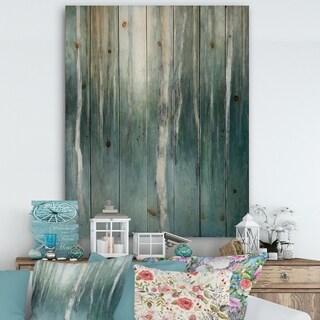Designart 'Green Forest Dream' Traditional Landscape Print on Natural Pine Wood - Blue/Green
