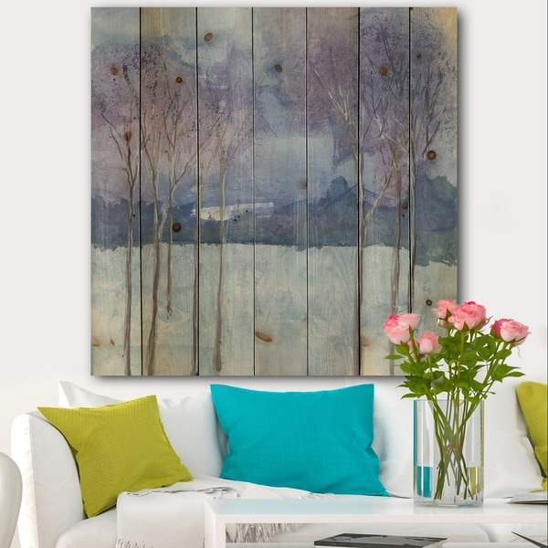 Designart 'Evening Serenade II' Traditional Landscape Print on Natural Pine Wood - Blue/Brown