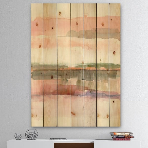 Designart 'Influence of Line and Color' Traditional Floral Print on Natural Pine Wood - Green/Pink