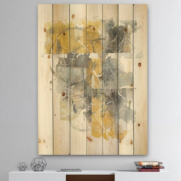 Designart 'Moving In and Out of Traffic II Yellow Grey' Geometric Print on Natural Pine Wood - Grey