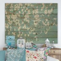Designart 'Blue April Tree' Traditional Print on Natural Pine Wood - Blue