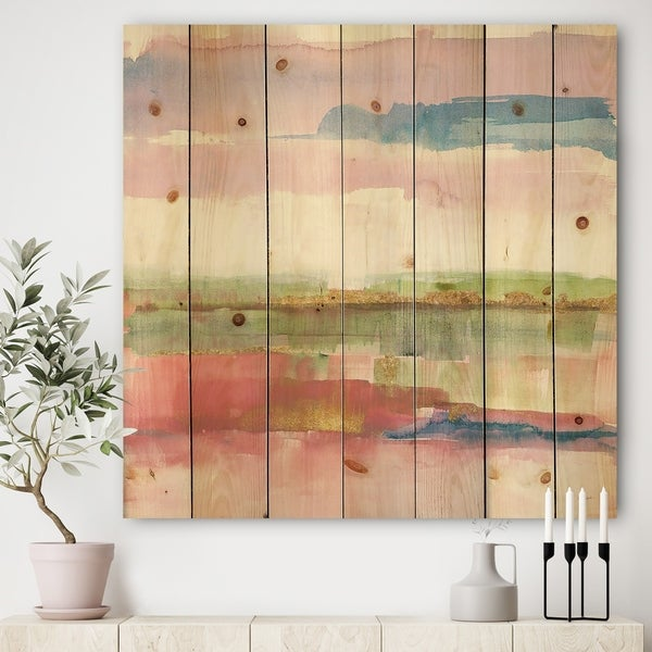 Designart 'Influence of Line and Color Gold Bright' Shabby Chic Print on Natural Pine Wood - Multi-color