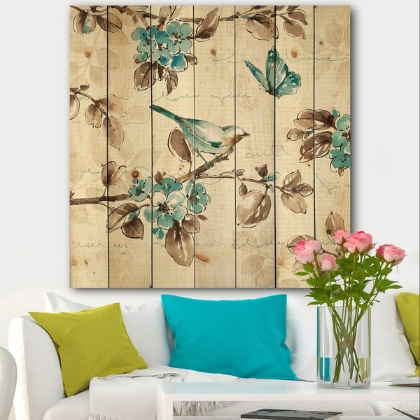 Designart 'Beige Bird Wings III' Traditional Print on Natural Pine Wood - Blue