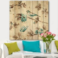 Designart 'Beige Bird Wings' Cottage Print on Natural Pine Wood - Blue