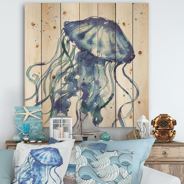 Designart 'Blue Deep Sea X' Coastal Print on Natural Pine Wood - Blue