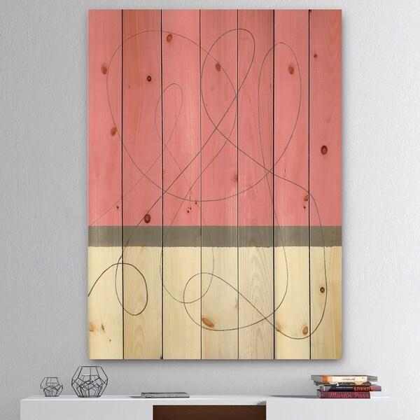 Designart 'Geometric Neapolitan II' Shabby Chic Print on Natural Pine Wood - Pink/White