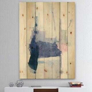 Designart 'Blue Interlude' Traditional Print on Natural Pine Wood - Grey/Blue